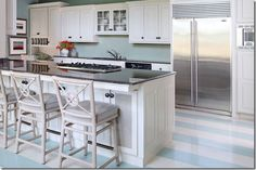 i like the idea of this light blue painted striped floor for the blue bathroom