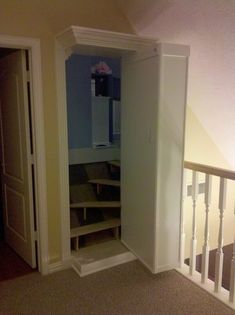 Secret Door Bookshelf Hidden Rooms Stairs 17 Ideas - Image 24 of 24 Hidden Spaces, Hidden Rooms, Attic Rooms, Attic Spaces, Attic Playroom, Attic Bathroom, Attic House, Attic Floor, Attic Library