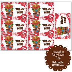 Red Tiki Mask Party Favor Tags from PrintableTreats.com