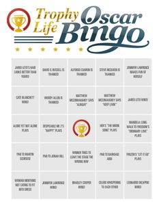 Play Oscar Bingo while you watch on Sunday!