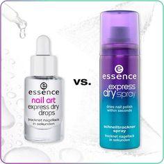 hi beauties, which product would you choose?  a. nail art express dry drops b. express dry spray  #essence #cosmetics #nails #expressdry #nailpolish #nailart