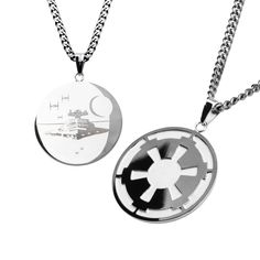 Star Wars: Galactic Empire and Death Star Pendant with Chain 316 Stainless Steel