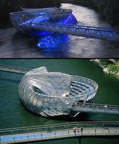Aiola Island Bridge Designed by Vito Acconci, this 'island' has a sunbathing area, a trendy bar and a coffee house, plus it allows you to cross the Mur River in Graz, Austria. Bridges Architecture, Beautiful Architecture, Beautiful Buildings, Contemporary Architecture, Landscape Architecture, Architecture Design, Creative Architecture, Organic Architecture, Futuristic Architecture