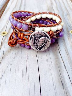 Triple Leather Wrap Bracelet - Lavender Earthy Boho