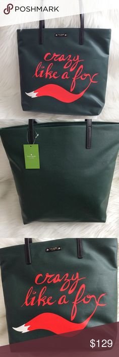 """KATE SPADE Like A Fox 🐺 Shopper Tote NWT Brand new with tags Rich deep green coated canvas bon tote shopper from Kate Spade. The front features a vibrant fox tail printed graphic and the words """"crazy like a fox"""".  This is a generous sized tote that can easily accommodate an iPad, planner, wallet and sunnies. Double shoulder straps and KATE SPADE logo plate on the front. kate spade Bags Totes"""