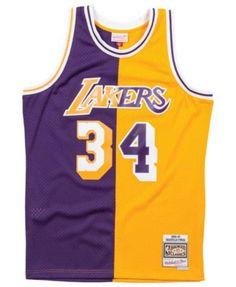a94a5db2f56 Mitchell   Ness Men s Shaquille O Neal Los Angeles Lakers Split Swingman  Jersey - Purple
