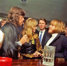 Mick Jagger, Marianne Faithfull, and Brian Jones.