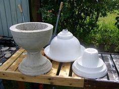 Use plastic garden pots and urns as moulds for concrete ones.
