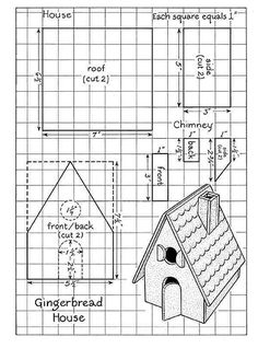 gingerbread house template but use for glitter houses. Use small punched card stock circles for the roof? gingerbread house template but use for glitter houses. Use small punched card stock circles for the roof? Gingerbread House Template Printable, Gingerbread House Patterns, Cool Gingerbread Houses, Gingerbread House Parties, Gingerbread Village, Christmas Gingerbread House, Gingerbread Cookies, Christmas Houses, Ginger House