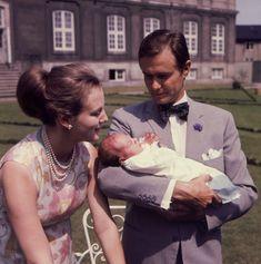 Princess Margrethe of Denmark and Prince Henrik with sons Frederik and new-born Joachim 1969