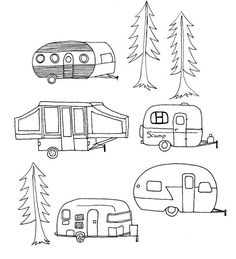 Vintage Embroidery Designs - The next Spoonflower contest theme is camping which we love to do in the summer. We own a pop-up camper…this is it in the Badlands: I decided to create a pattern incorporating a variety of ca… Embroidery Designs, Hand Embroidery Patterns, Cross Stitch Embroidery, Machine Embroidery, Crewel Embroidery, Modern Embroidery, Garden Embroidery, Christmas Embroidery Patterns, Embroidery Transfers