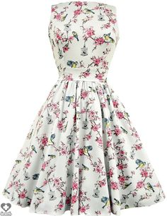 Lady Vintage - Cream Birdcage Print Tea Dress - Buy Online Australia Beserk