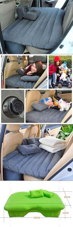 If you often take long road trips, make sure you are ready with an inflatable bed! It takes up very little space, inflates in minutes, and turns any back seat into a comfortable bed! (Travel Gadgets D (Minutes Design) Vw Camping, Camping Survival, Camping Hacks, Outdoor Camping, Glamping, Camping Beds, Camping Stuff, Camping Essentials, Camping Gadgets