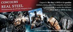 Ce concours Real Steal vous est proposé par DVDcritiques.com, en partenariat avec Dreamworks et vous permet de gagner l'un des lots mis en jeu :    1er lot : Le Blu-ray du film Real Steel (valorisation = 25€) + 1 clés USB (valorisation = 40€)  2ème lot : Le DVD du film Real Steel (valorisation = 25€) + 1 clés USB (valorisation = 40€)  3ème lot : 1 casquette (valorisation = 30€)  4ème lot : 1keychain (valorisation = 15€)  5ème lot : 1keychain (valorisation = 15€)  ...