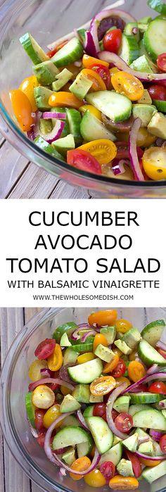 Avocado Cucumber Tomato Salad with Balsamic Vinaigrette - The Perfect Summer Salad! via /afinks/