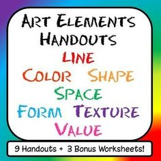 Beautiful, clear handouts ready to go!  This product contains: 2 handouts to introduce the Elements of Art (one for visual learners and one with written definitions and pictures).  COLOR THEORY Handout + BONUS  worksheet for students that covers the color