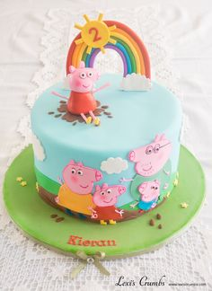 Peppa Pig cake eppa Pig will be a favourite pre-school party styles, and to observe, Tortas Peppa Pig, Bolo Da Peppa Pig, Peppa Pig Cakes, Simple Birthday Cake Designs, Cake Designs For Kids, Peppa Pig Birthday Cake, Birthday Cake Girls, 3rd Birthday, Birthday Celebration