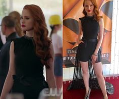 e3bd3bb19ad6 Cheryl Blossom (Madelaine Petsch) wears this black sleeveless dress with  feather embroidery neckline and layered maxi dress in this episode of  Riverdale