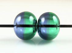 Sapphire Emerald Glass Half Hollow Lampwork Bead by AlishaWhite