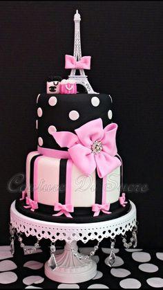 Trendy cupcakes decoration for girls pink beautiful cakes 52 ideas Paris Birthday Cakes, Paris Themed Cakes, Paris Themed Birthday Party, Cool Birthday Cakes, Paris Party, Bolo Paris, Cake Paris, Pretty Cakes, Beautiful Cakes