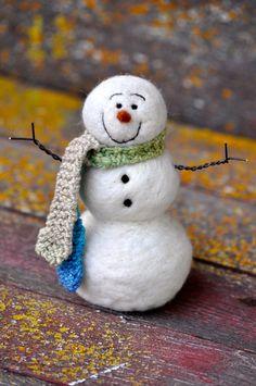 Snowmen  Wool Needle Felted Snowman  Christmas  by BearCreekDesign, $45.00