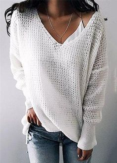 Chicnico Street Fashion Knit V Neck Solid Color Loose Sweater Loose Knit Sweaters, Summer Sweaters, Casual Sweaters, Casual Tops, Casual Shirts, V Neck Sweaters, Cardigans, Winter Fashion Casual, Winter Style