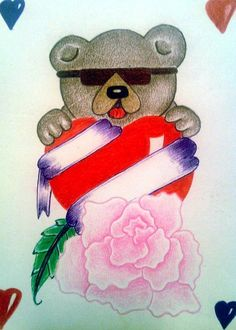 Teddy Bear Drawing, Prison Art, Envelope Art, Fathers Day Cards, Love Tattoos, Kids Cards, White Envelopes, Valentines, Valentine Cards
