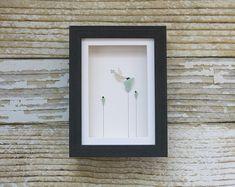 Original Pebble Art Design,Sea Glass Art,Pebble Art Birds,Pebble Art Flowers,Mothers Day Gift,Unique Gift,Art by Maine Artist M.McGuinness