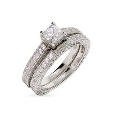 Sterling Silver Jewelry - Julia's Vintage Style Princess Cut Engagement Ring Set