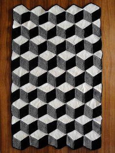 Isometric Blanket / Afghan - Geometric Black White & Grey Crochet. $250.00, via Etsy.