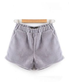 Grey Shorts with Furry Horsehair Details