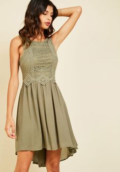 Cider Insider A-Line Dress. By sporting this high-low dress, you ensure a VIP spot for yourself at the cider tasting! #green #modcloth