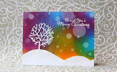 rainbow in november: Bokeh Background Christmas card