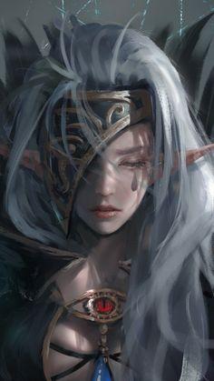 Elf, woman, dark, fantasy, artwork, 720x1280 wallpaper