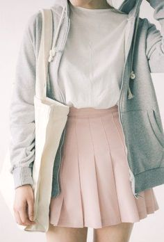 White tee, skater skirt and hoodie. Pink matched with the monochromatic tones is just so perfect.