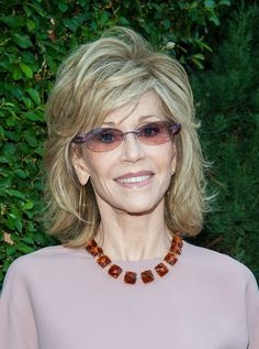 30 Best Jane Fonda Hairstyles. Jane Fonda medium hairstyle with flicks