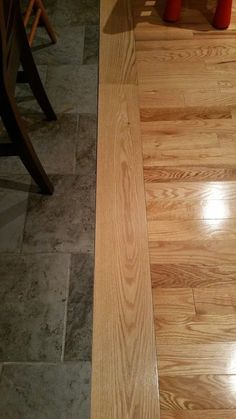 Flat transition between tile and wood floors!