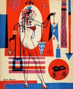 Vintage Showgirl Illustration by artist Ruth Reeves, 1954
