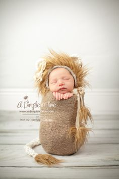 The original little lion cub! This set up was inspired by this little girl's safari themed nursery, which displays art by the talented photographer Sharon Montrose (http://www.theanimalprintshop.com/Art-fo-Nursery/)... With that in mind we created this adorable image to add to her collection! Original lion cub bonnet by Couture Phantasies :)