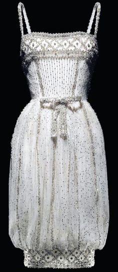 Yves Saint Laurent - Dior - Robe du Soir à Base Resserrée - Soie, Dentelle et Perles - 1959-60