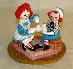 "Danbury Mint Porcelain Raggedy Ann & Andy ""Tea Time"" Collectible Figurine"