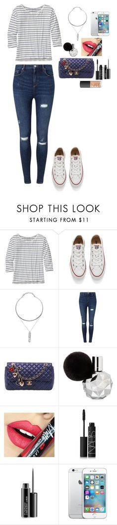 """""""Chanel Casual"""" by alliemsolari ❤ liked on Polyvore featuring Patagonia, Converse, Miss Selfridge, Chanel, Fiebiger, NARS Cosmetics and MAC Cosmetics"""