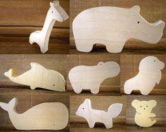 4 animales de madera elección / / imaginación por DesChosesEnBois