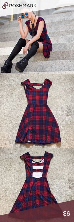 Red and Blue School girl Dress Super soft school girl dress. Red and blue with darker navy as well. Adorable open back detail. Only wore ONCE Rue 21 Dresses Mini