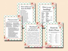 Mint and Peach Bridal Shower Games Floral by MagicalPrintable