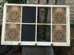 Reclaimed Old Window turned into a Burlap Cork Board, Magnetic Chalkboard, Chicken wire memo board. www.eightysix56.etsy.com www.facebook.com/eightysix56