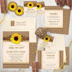Rustic sunflower, burlap, lace, and wood wedding invitation.