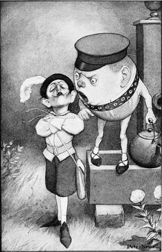 illustration by Peter Newell - Humpty Dumpty 'Through the Looking Glass and What Alice Found There' by Lewis Carroll