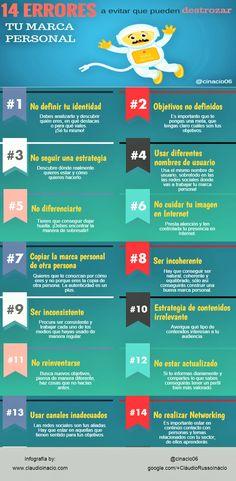 Marketing y Comunicación. 14 errores a evitar que pueden destrozar tu marca personal. (vía Twitter Eva Collado D.