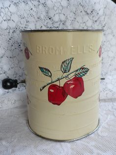 vintage flour sifter, Bromwells, apple theme, vintage kitchen decor. $15.00, via Etsy.